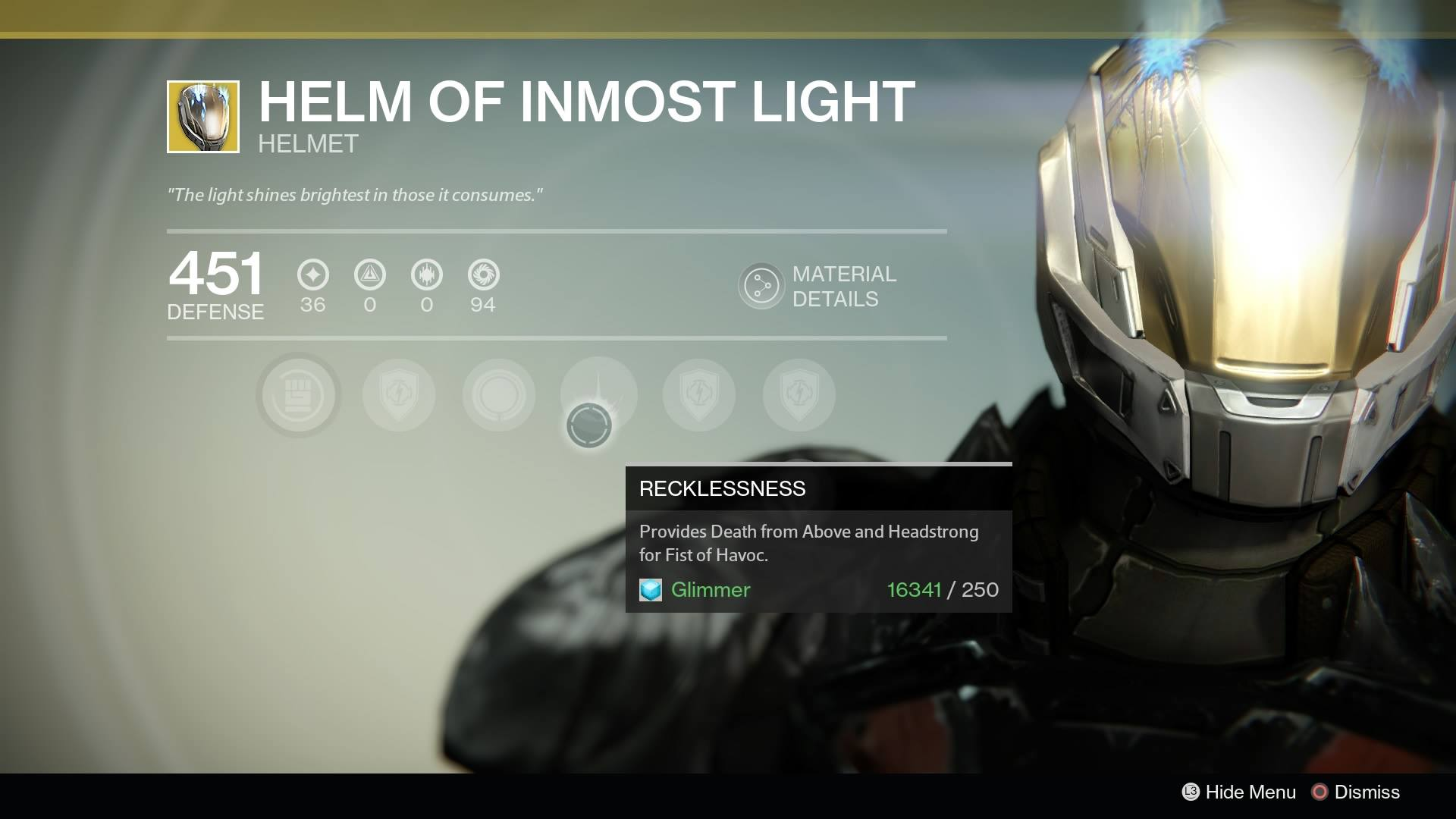 Destiny - Titan Helm of Inmost Light