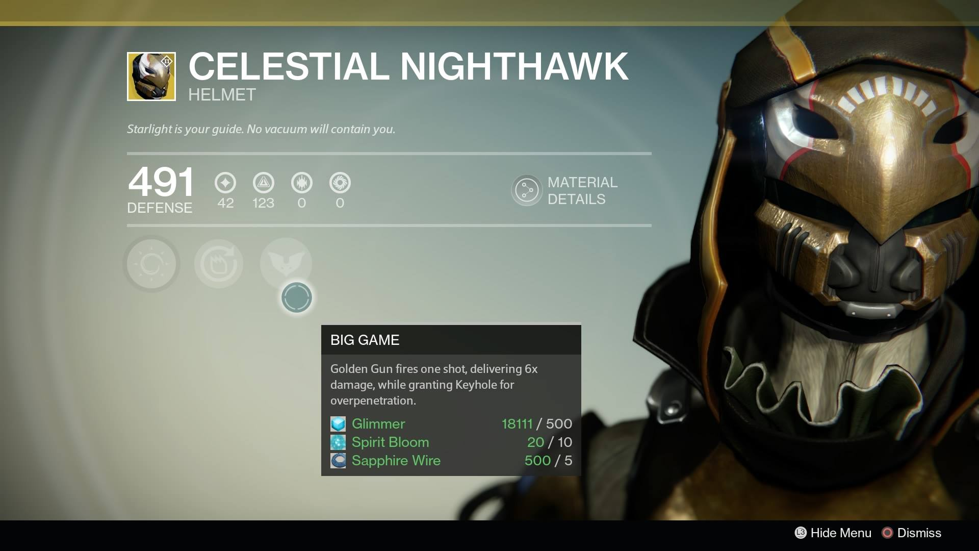 Destiny - Hunter Celestial Nighthawk
