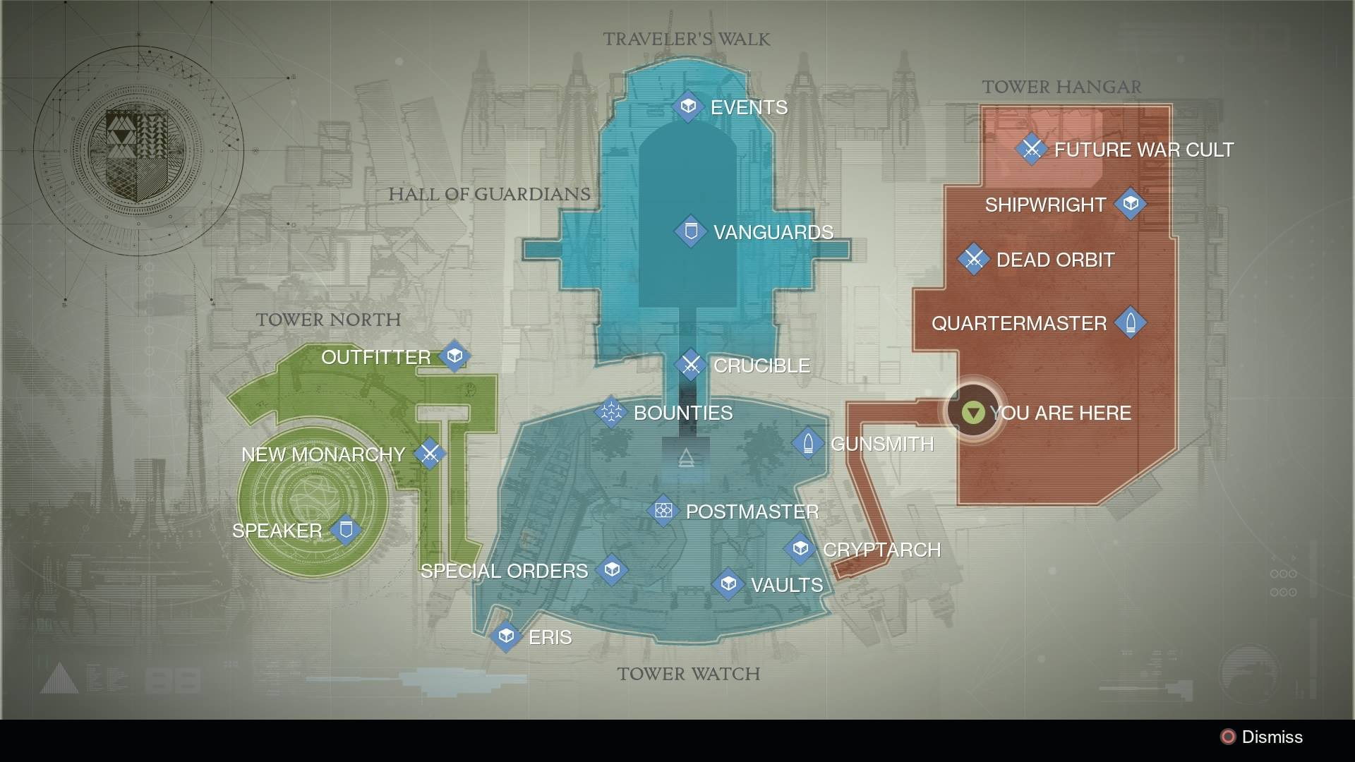 Destiny - Tower Map / Xur Location