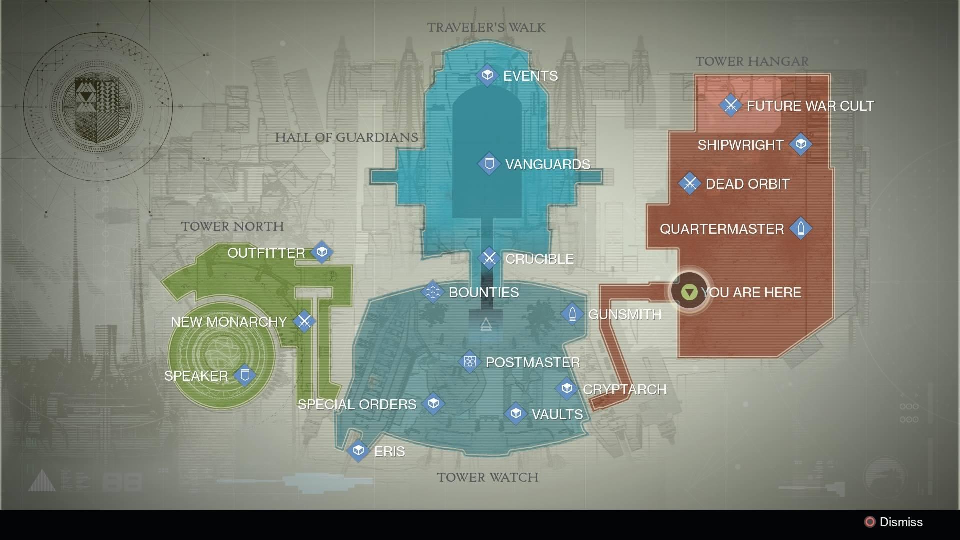 Destiny - Tower Map / Xur Location
